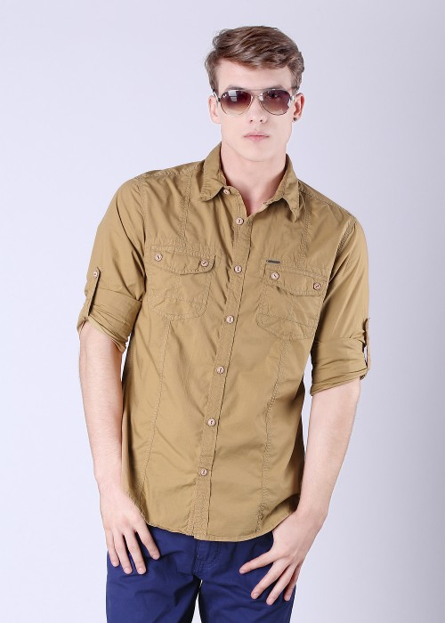 Buy Scullers Men's Solid Casual Shirt